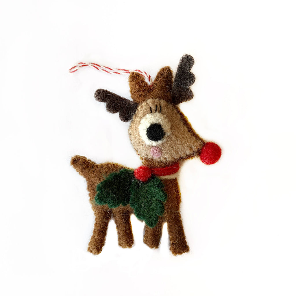 Reindeer with Holly Felt Wool Ornament