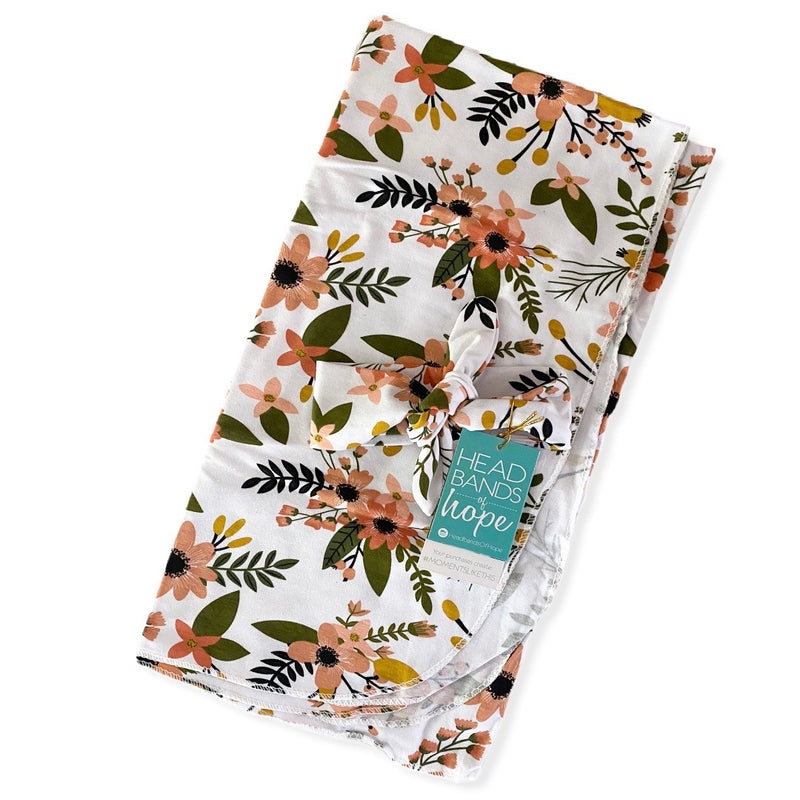 Mint Floral Baby Swaddle Set