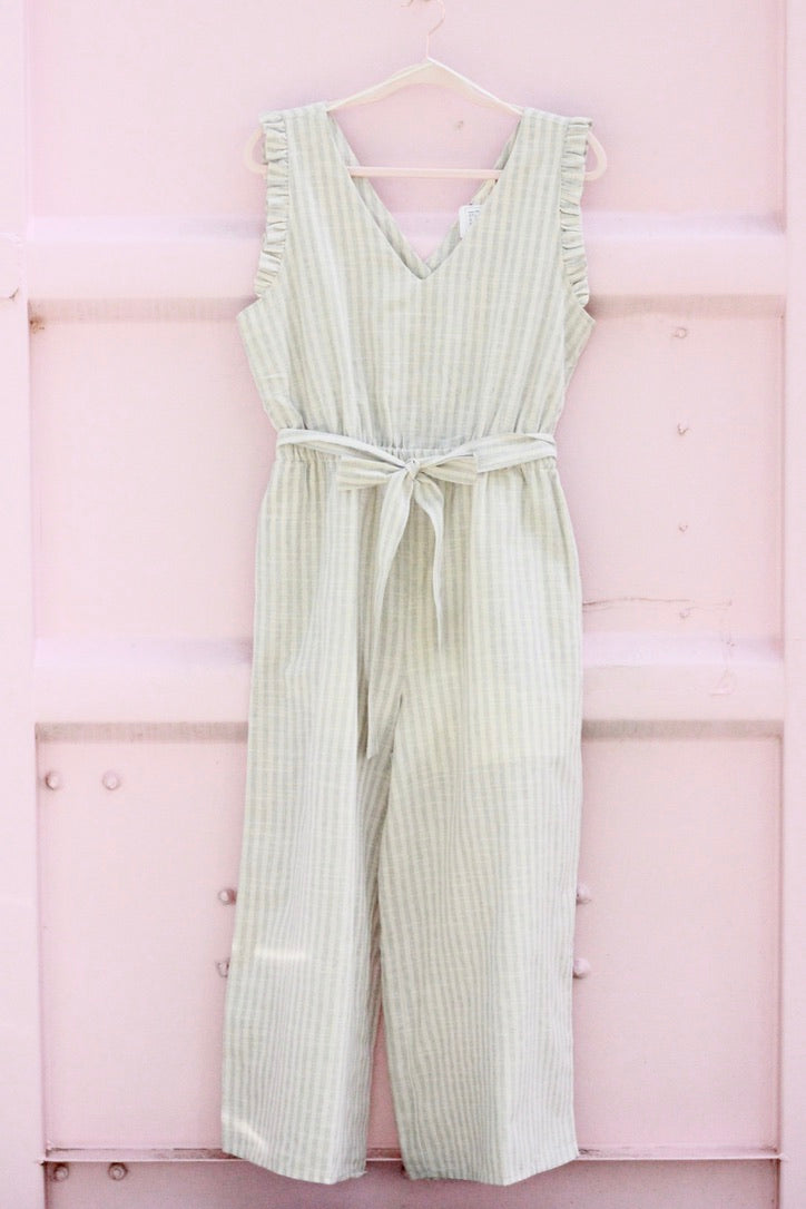 Gray Stripe Jumpsuit