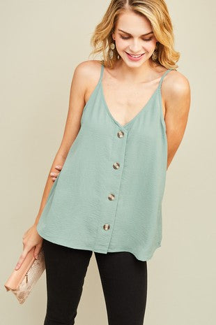 Front Button Tank {Sage}