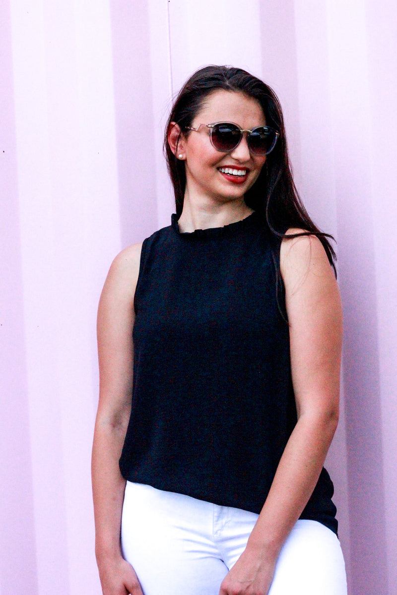 Ruffle Mock Neck Blouse {Black}