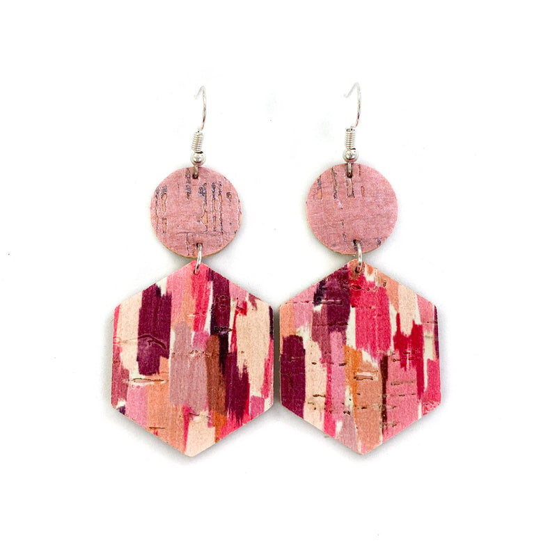 Pink Watercolor Leather Earrings