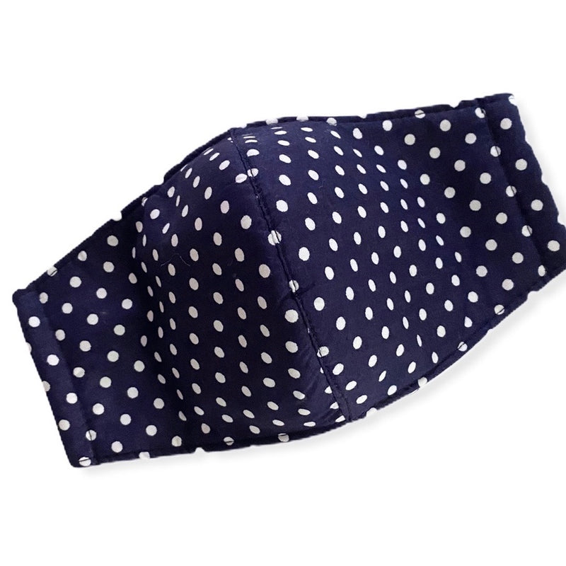 Navy Polka Dot Adult Face Mask