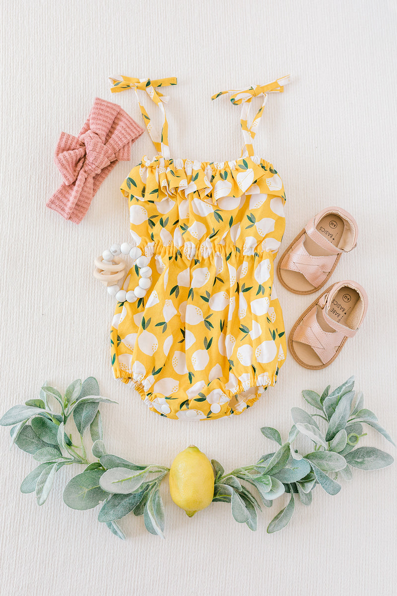 Lemon Strappy Romper