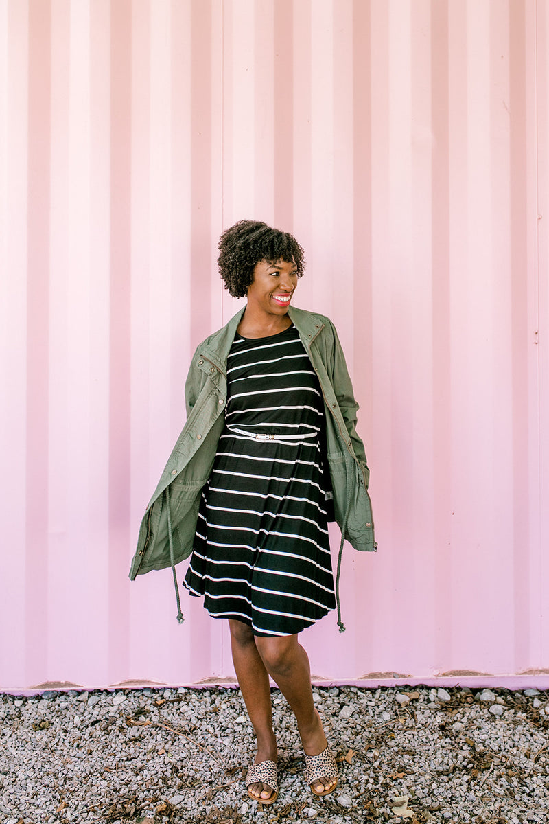 Stripe Sleeveless Dress {Black}