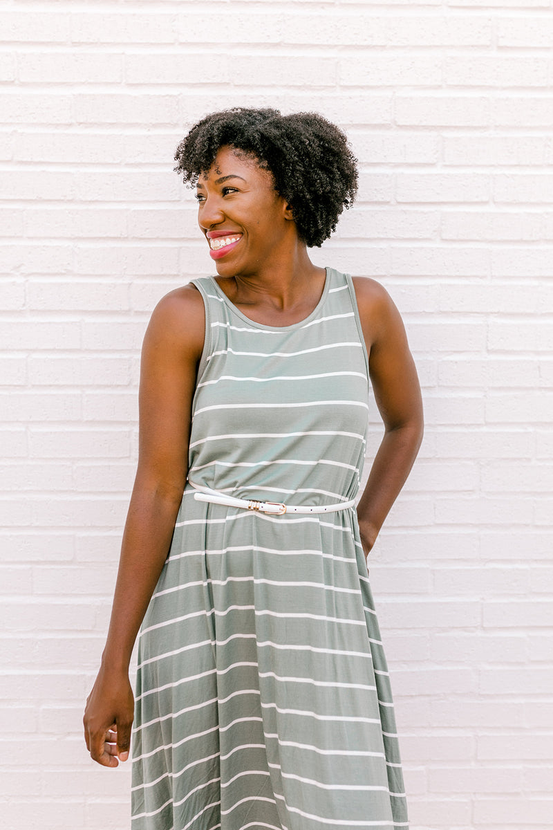Stripe Sleeveless Dress {Sage}