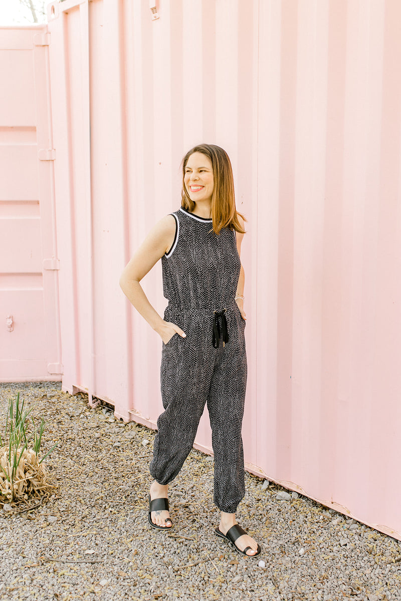 Stripe Band Jumpsuit {Black}