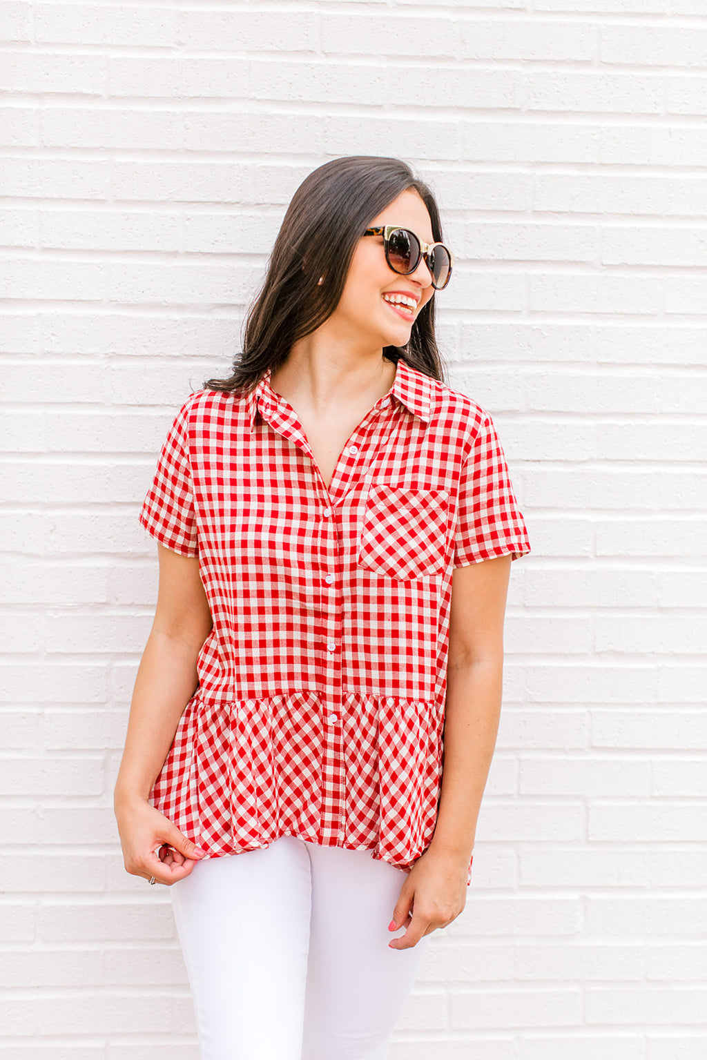 Red Gingham Babydoll Top