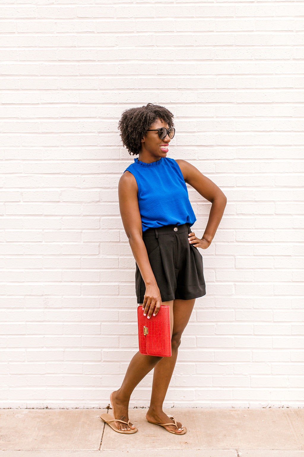 Ruffle Mock Neck Blouse {Blue}