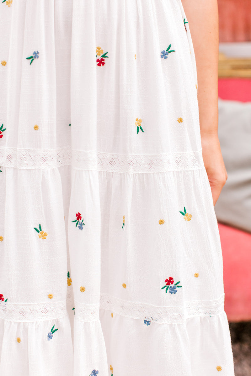 White Embroidered Midi Dress