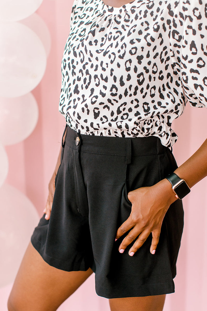Pleated High Waist Shorts {Black}