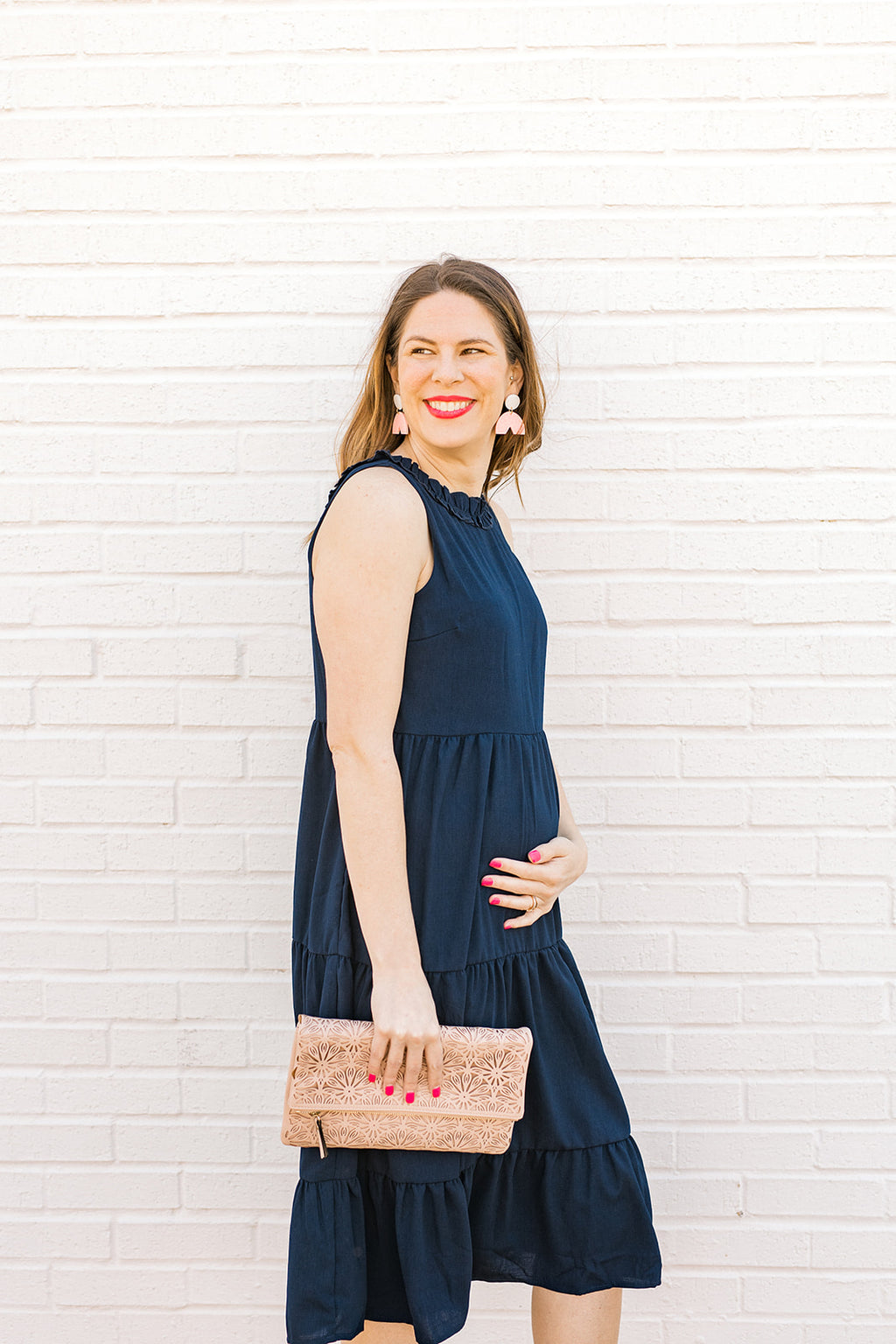 Navy Woven Midi Dress