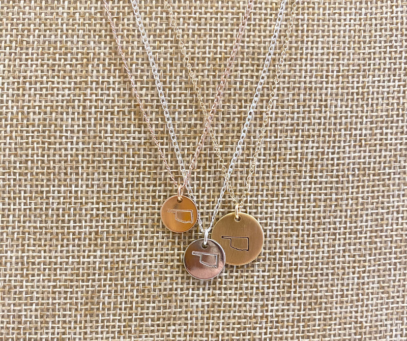 Oklahoma Stamped Necklace {Silver}