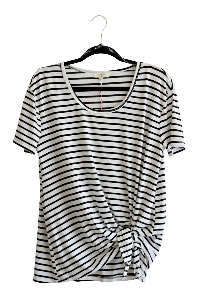 Striped Short Sleeve Top {White}