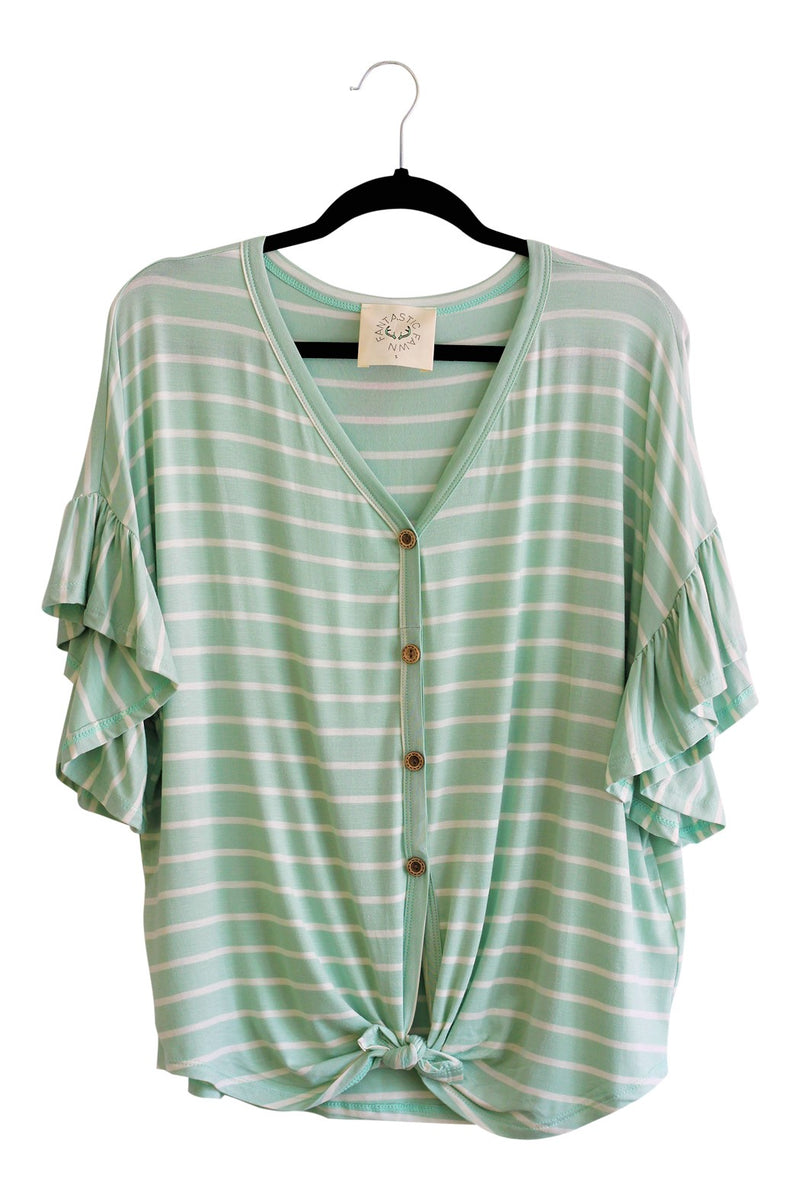 Button Down Tie Front {Mint}