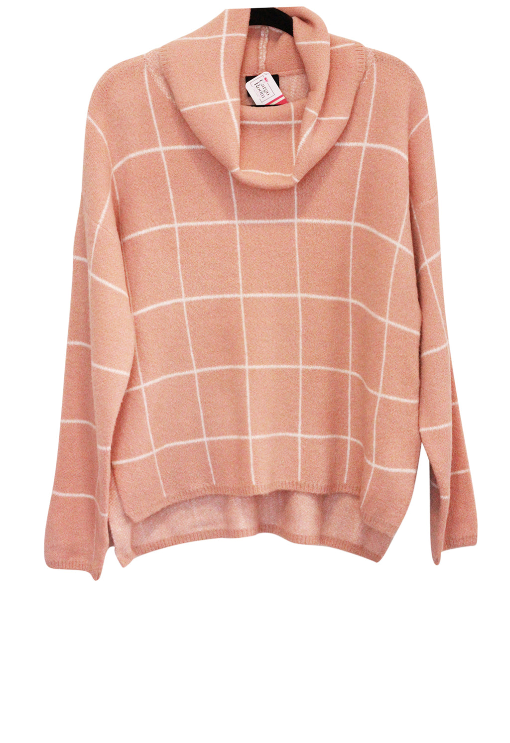 Pink Grid Sweater