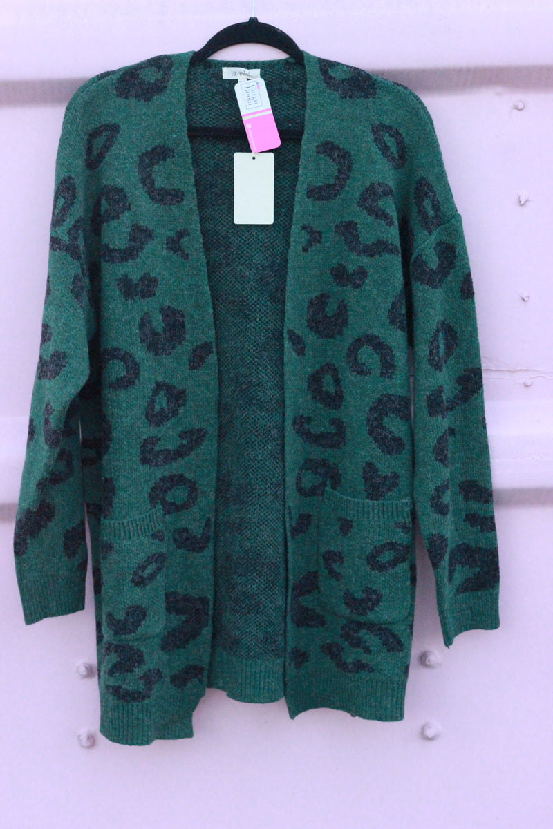 Green Leopard Cardigan