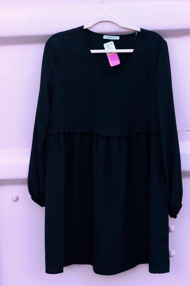Black Shirring Waist Dress