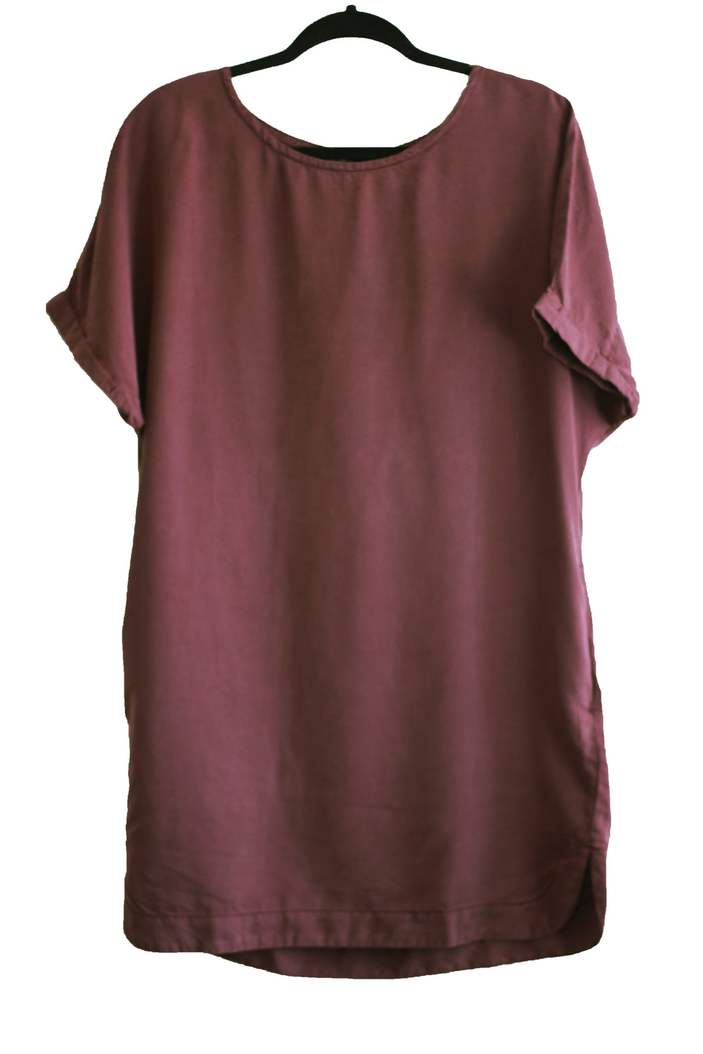 Short Sleeve Tencel Dress {Eggplant}