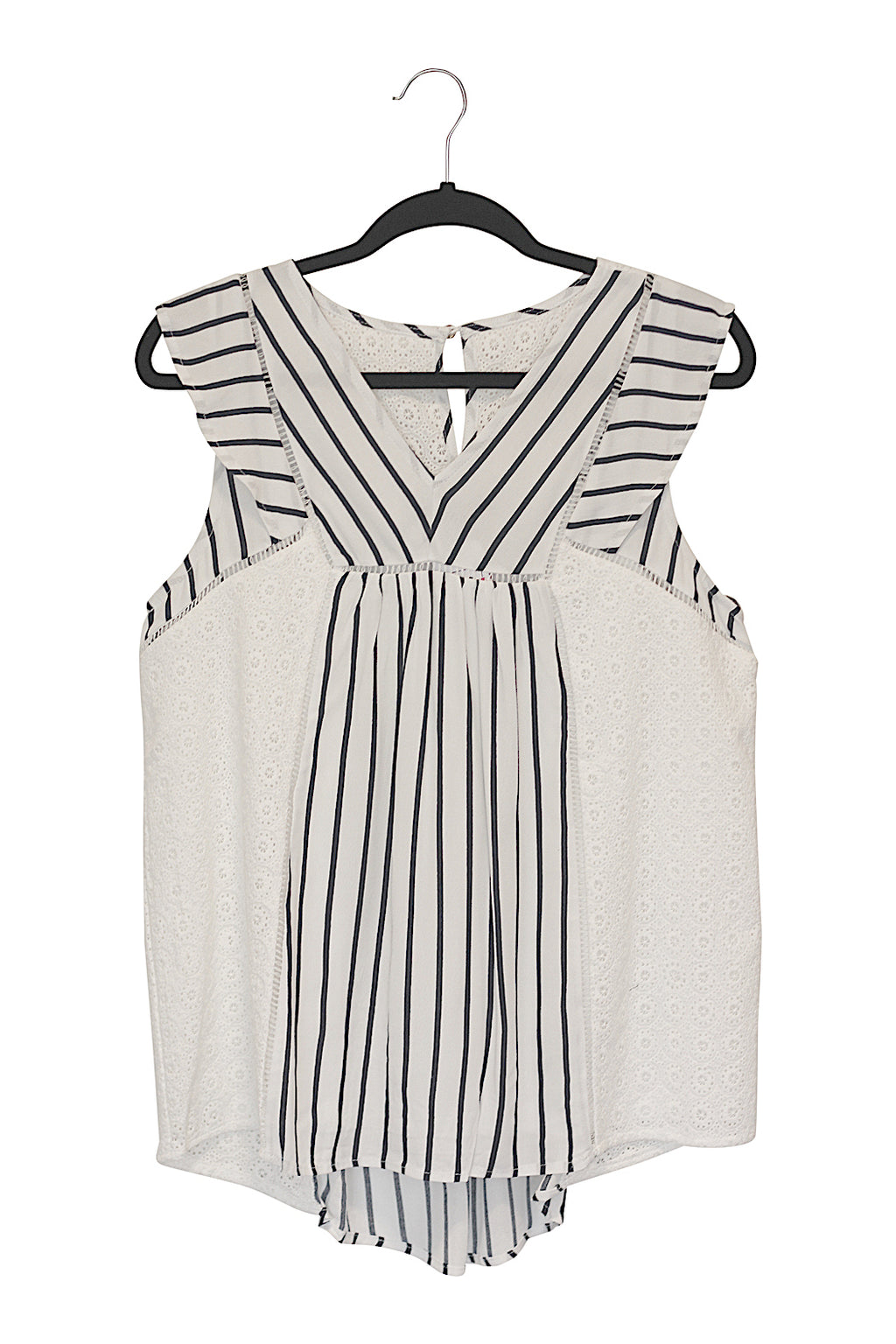 Stripe & Embroidery Mixed Top