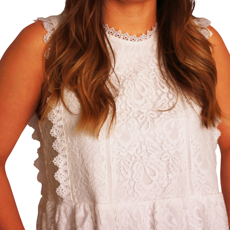 Spring Lace Top {White}