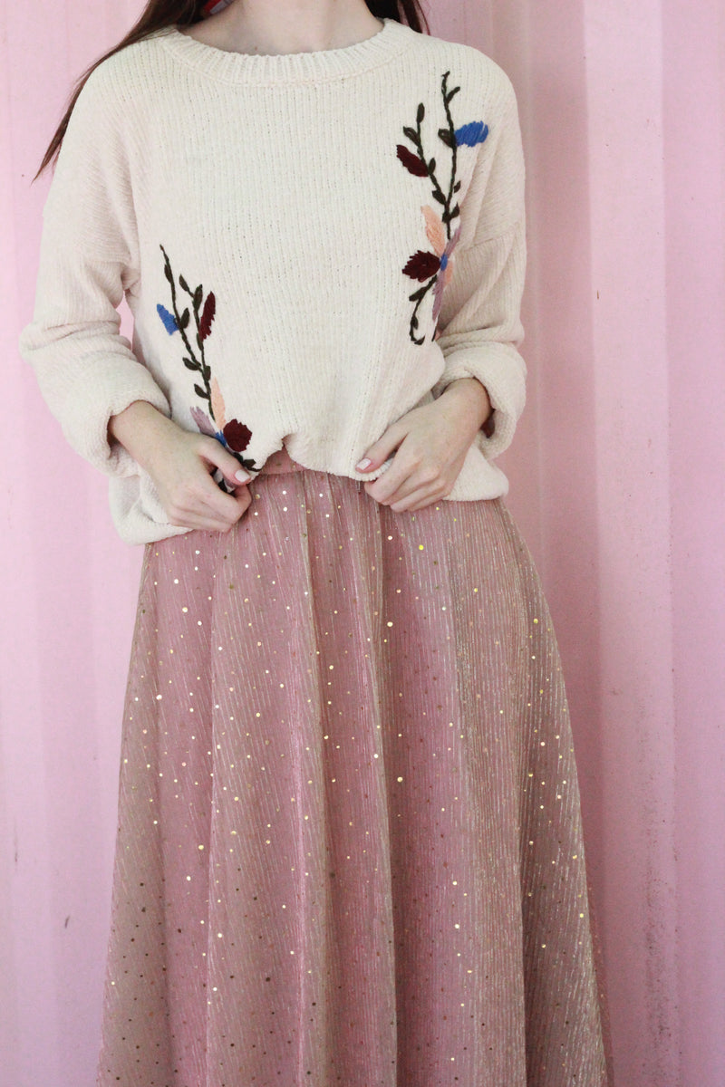 Double Front Embroidered Sweater {Oatmeal}