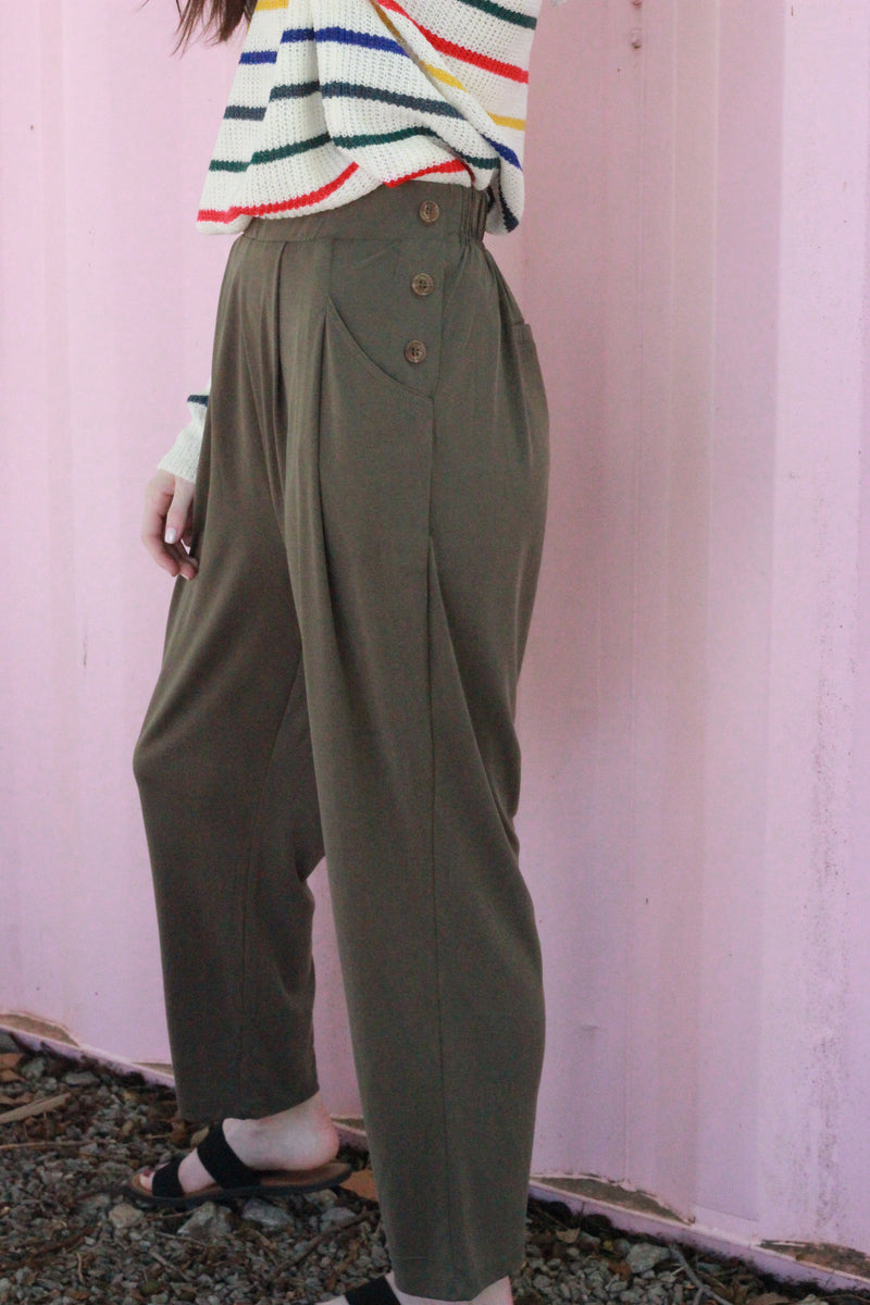 Side Button Detail Pants {Olive}