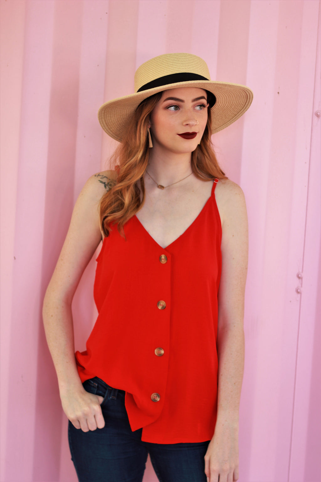 Front Button Tank {Red}