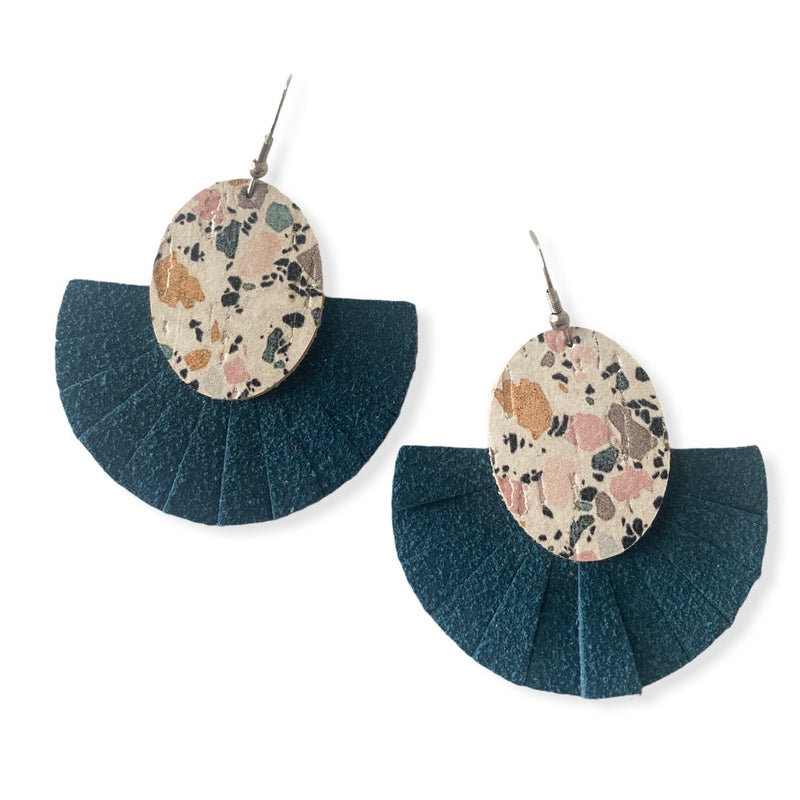 Marble Fringe Fan Leather Earrings {Teal}