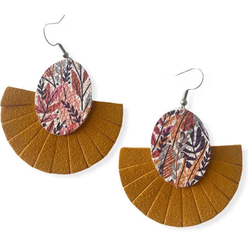 Leaf Fringe Fan Leather Earrings {Mustard}