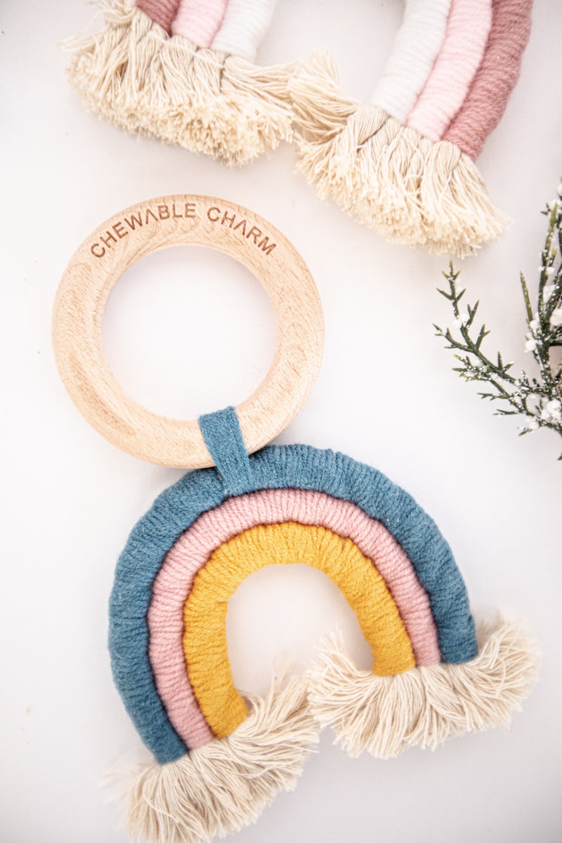 Rainbow Macrame Teether- Teal + Rose