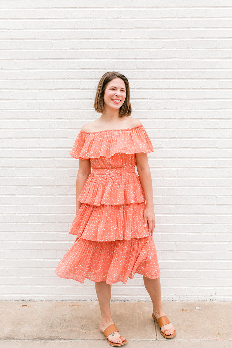 Coral Off-Shoulder Midi Dress