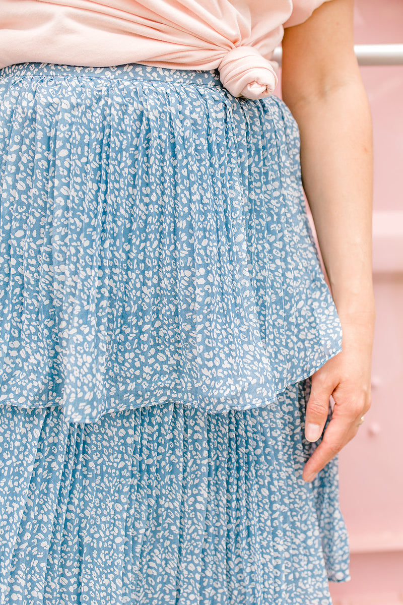 Printed Pleated Layer Skirt