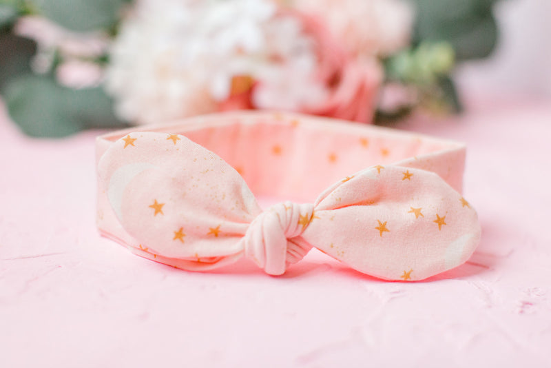 Pink Moon Knotted Baby Headband