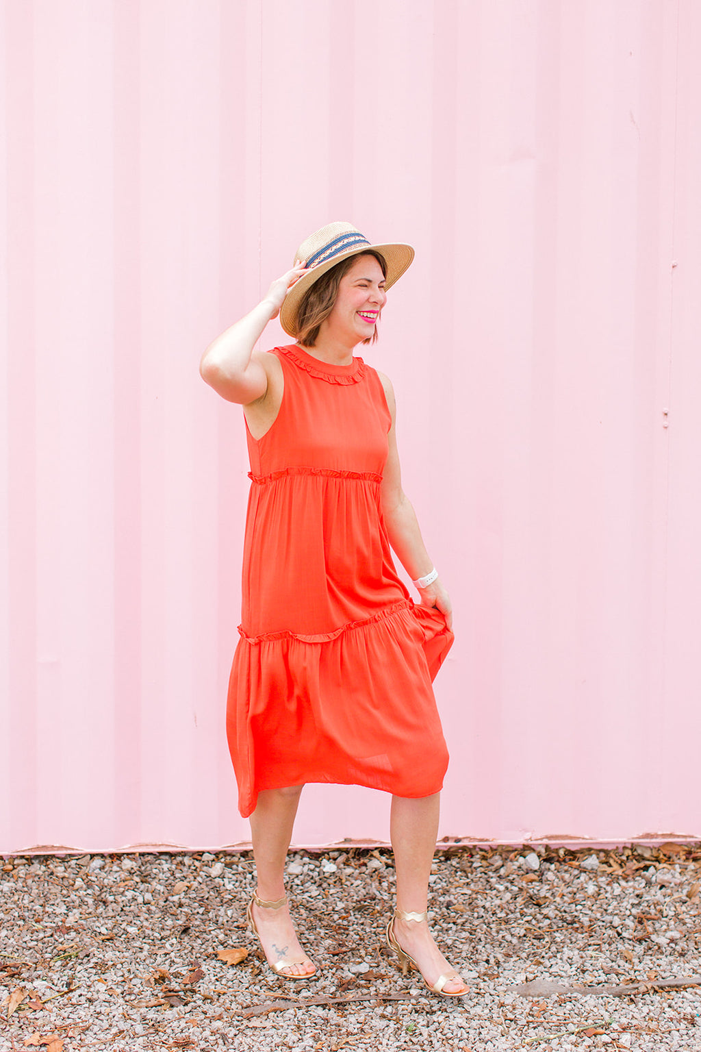 Coral Tiered Dress