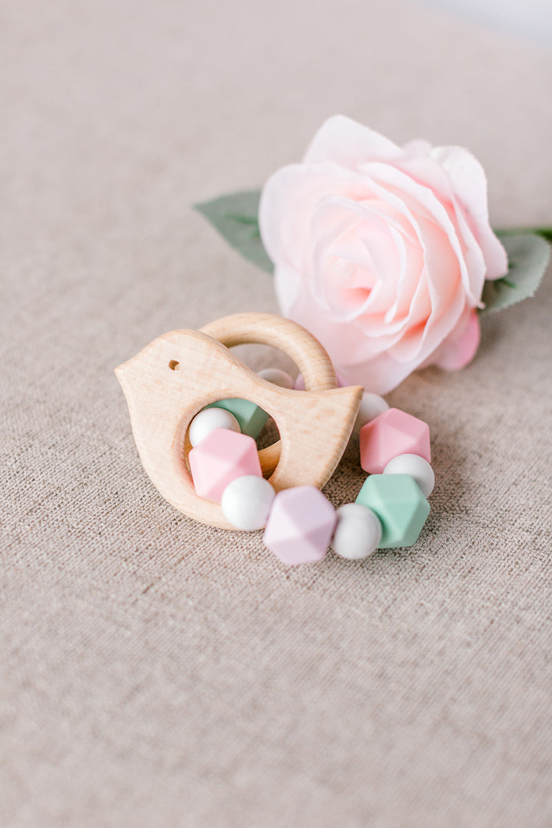 Sage Floral Teething Ring