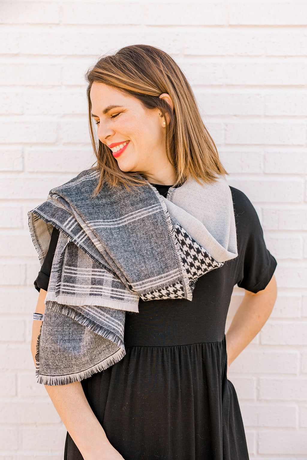 Houndstooth Madras Frayed Scarf