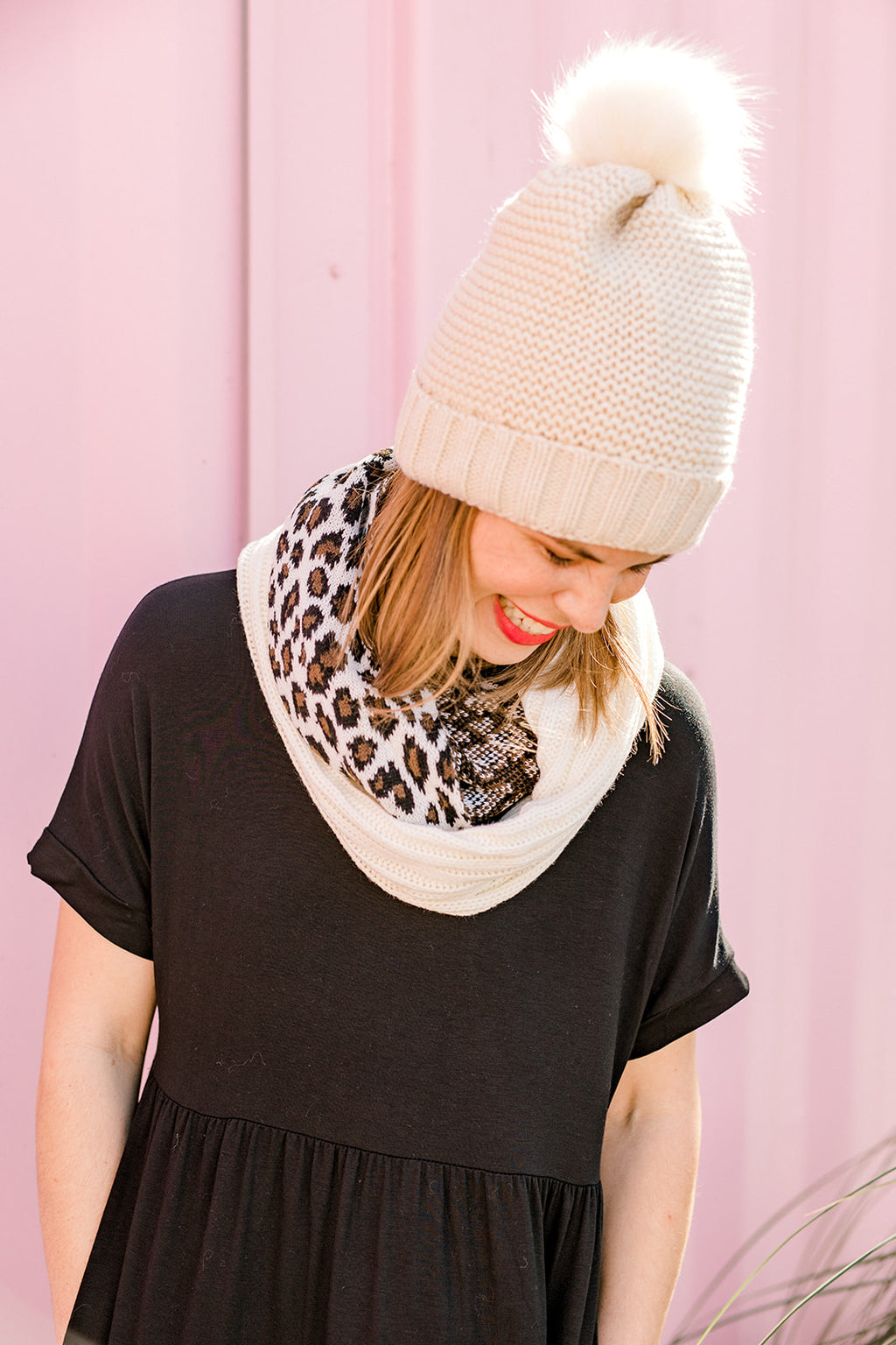Mixed Print Leopard Infinity Scarf
