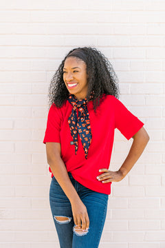 Solid Crepe Boxy Top {Red}