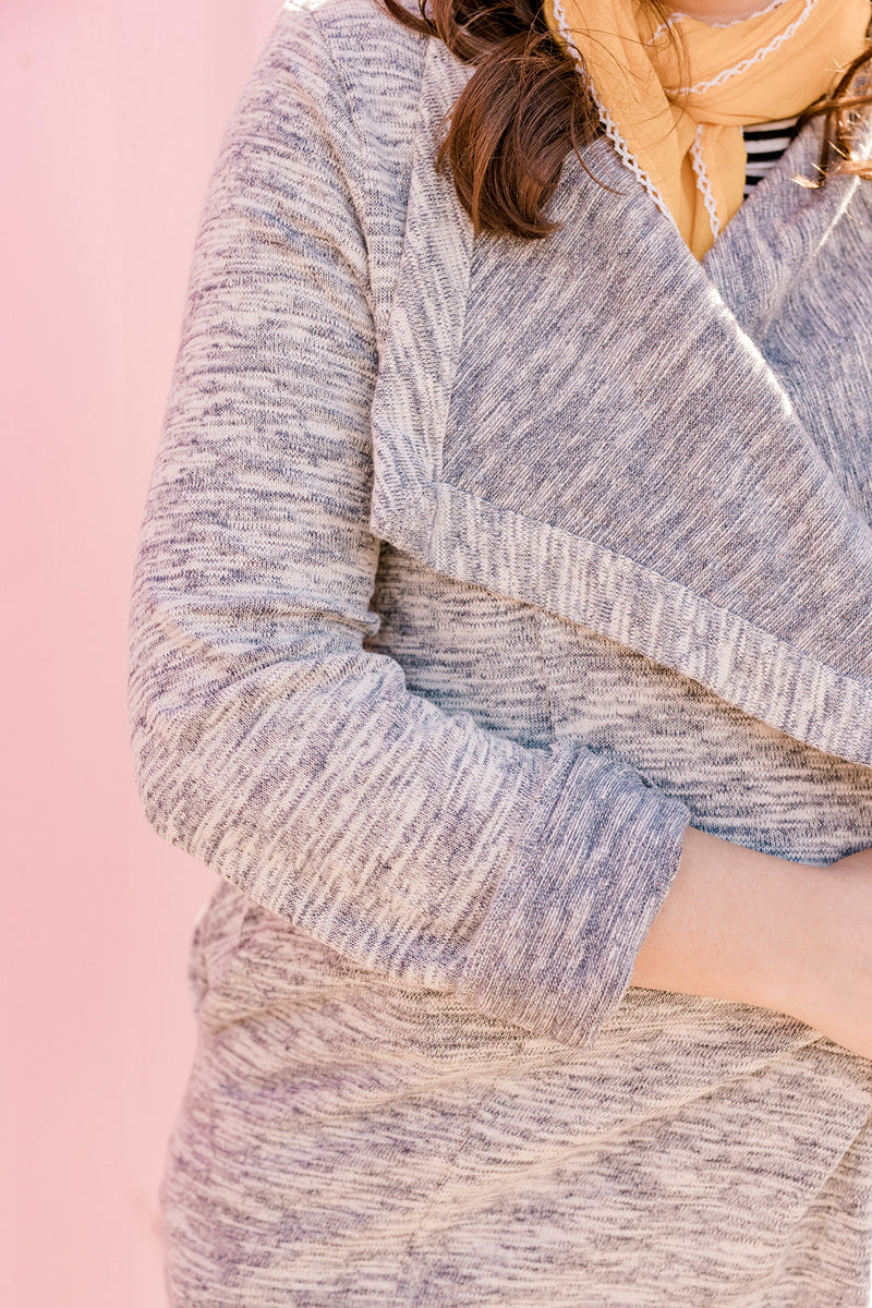 Grey Snap Cardigan