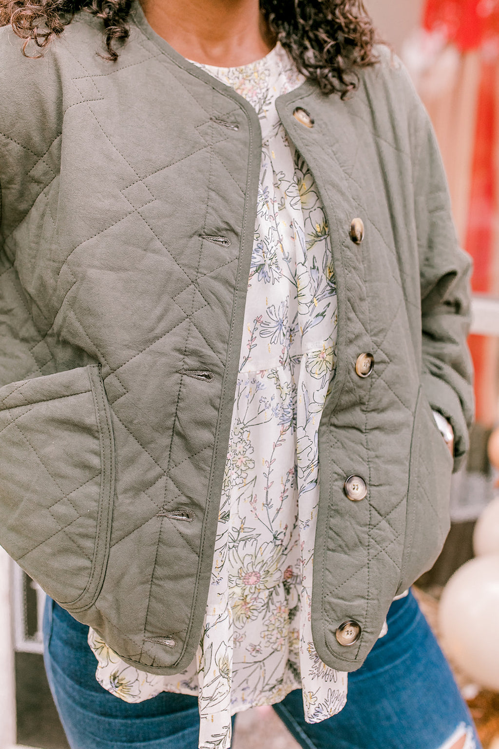 Green Quilted Button Down Jacket