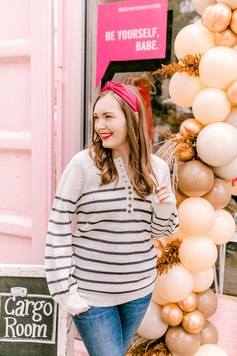 Striped Front Button Sweater