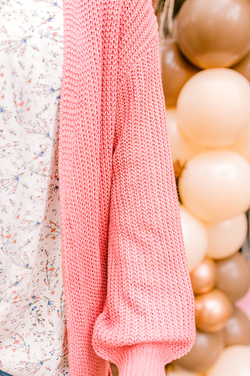 Bubble Sleeve Long Cardigan {Terra Cotta}
