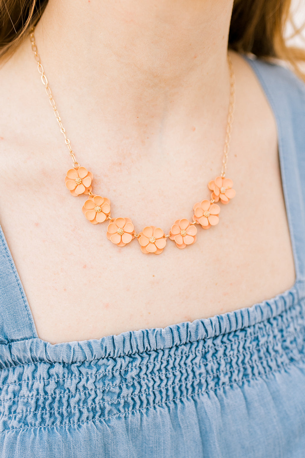 Peach Floral Necklace