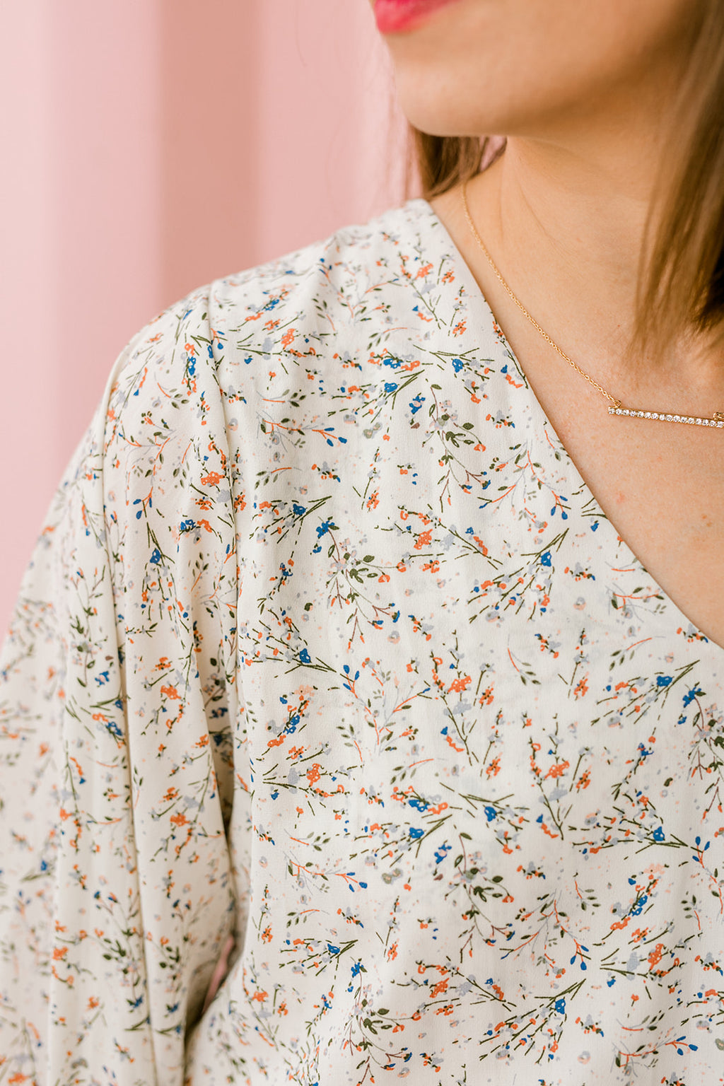 Floral Print Bubble Sleeve
