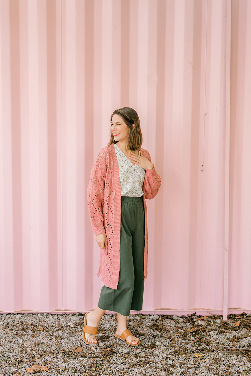 Dusty Pink Knit Cardigan