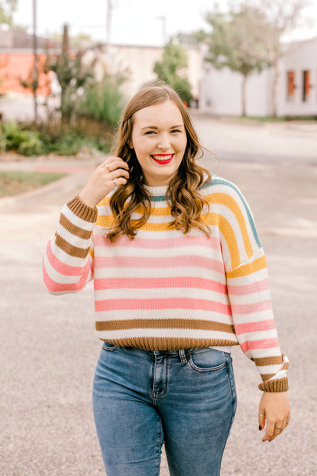 Multi Color Stripe Crop Sweater