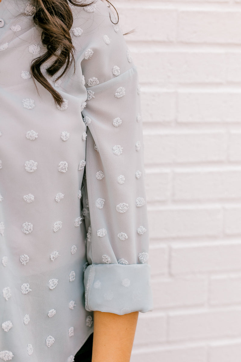 Swiss Dot Button Down {Blue}