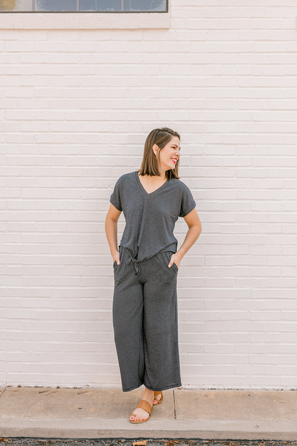 Navy Striped Wide Leg Pants