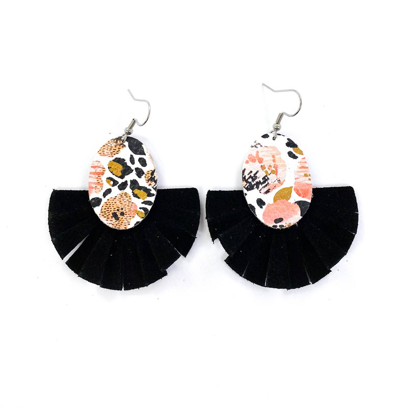 Leopard Fringe Fan Leather Earrings {Black}
